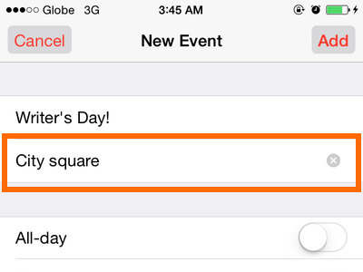 iPhone 6 - Calendar - Add Location