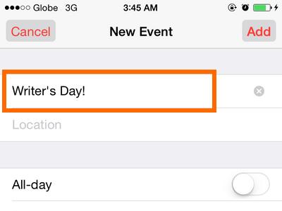 iPhone 6 - Calendar - Add a Title