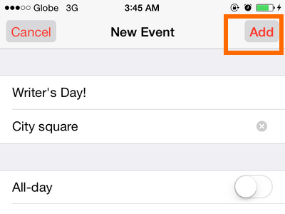 iPhone 6 - Calendar - Add event button