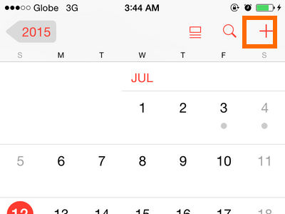 iPhone 6 - Calendar - Add event icon