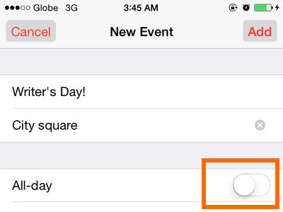 iPhone 6 - Calendar - All Event Button