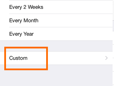iPhone 6 - Calendar - Custom frequency button