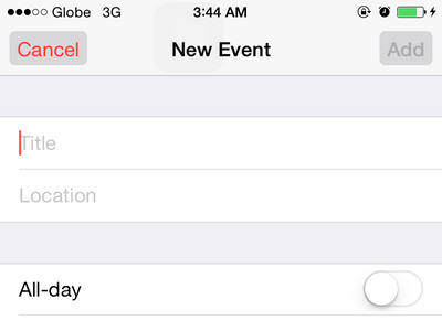 iPhone 6 - Calendar - New Event