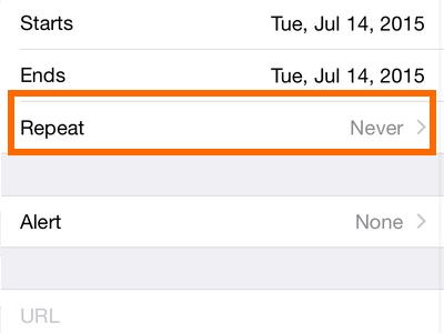 iPhone 6 - Calendar - Repeat button