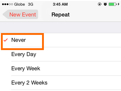 iPhone 6 - Calendar - Repeat frequency options