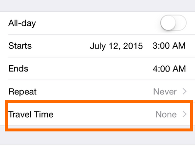 iPhone 6 - Calendar - Travel Time