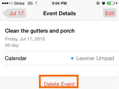 iPhone - Calendar - Delete Event Button