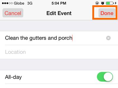 iPhone - Calendar - Done Button