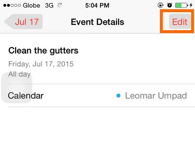 iPhone - Calendar - Edit Button