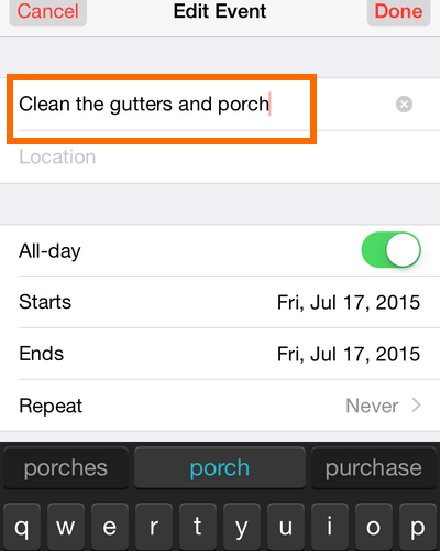 iPhone - Calendar - Start Editing