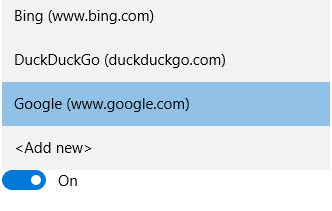 select default search engine for Microsoft Edge