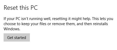 Reset Windows 10