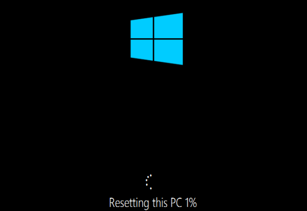 Reset Windows 10 in progress
