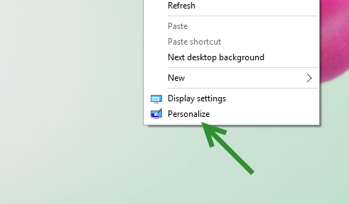 Windows 10 Personalize setting