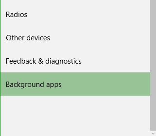 Windows 10 Background apps settings