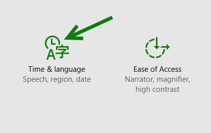 Windows 10 Time & language settings