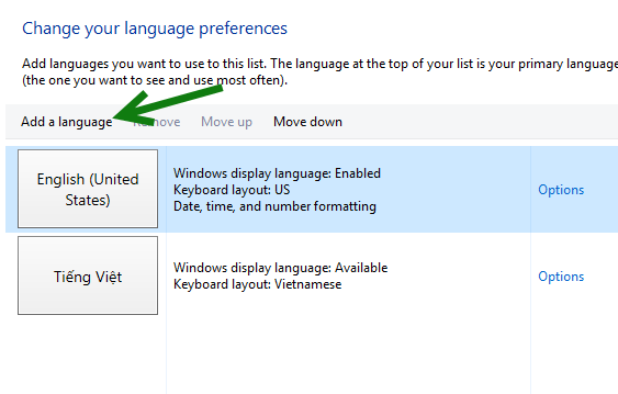 Windows 10 add a language