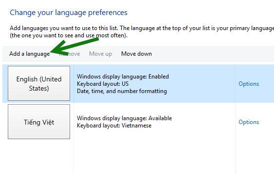 Windows 10 add a language