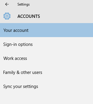 Windows 10 account setting