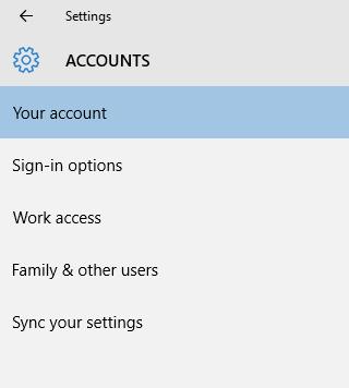 Windows 10 account setting