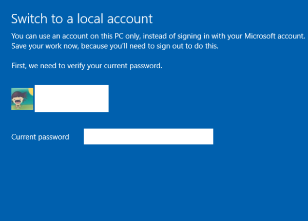 Windows 10 use offline account