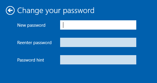 Windows 10 change password