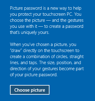 Windows 10 create picture password