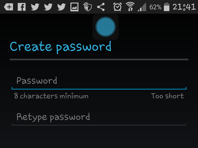 Android - Create Google - Enter password