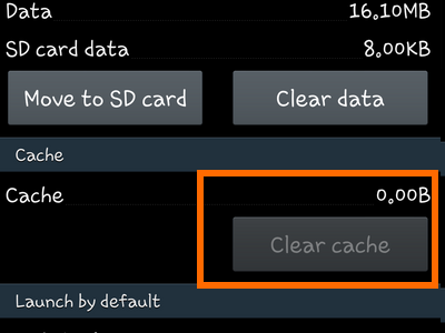 Android - Settings - Application Manager - App Info - Cache Cleared