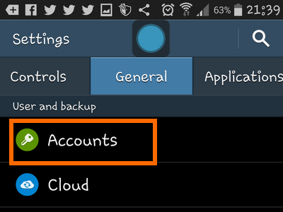 Android - Settings - General - Accounts