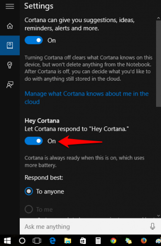 Turn on hey cortana