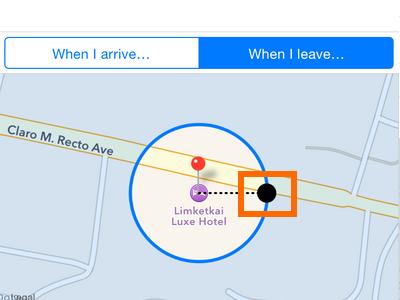 Reminders option - adjust location radius