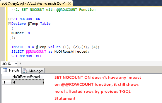 SQL Server: SET NOCOUNT ON Statement with Examples