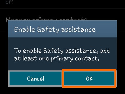 Samsung Galaxy - Safety Assistance - Add Contact