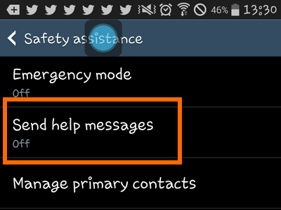 Samsung Galaxy - Safety Assistance - Send Help Messages