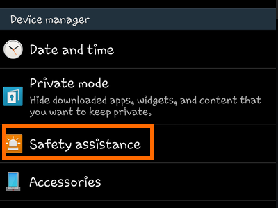 Samsung Galaxy - Settings - General - Safety Assistance