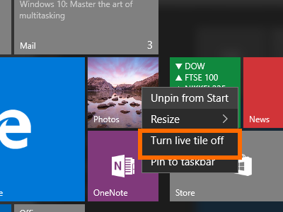 Windows 10 - App with Live Tile - Options - Turn Live Tile Off