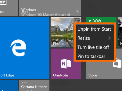 Windows 10 - App with Live Tile - Options