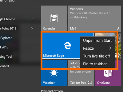 Windows 10 - Right Click icon to see options