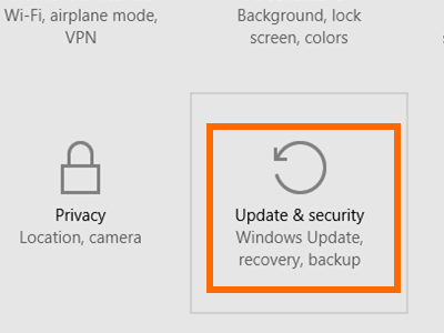 Windows 10 - Start - Settings - Update and Security