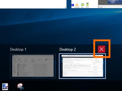 Windows 10 - Task View - Close a Virtual Desktop