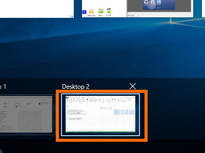 Windows 10 - Task View - Hover Mouse on a Virtual Desktop