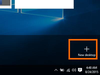 Windows 10 - Task View - New Desktop