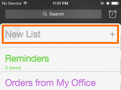 iPhone - Reminders - Add New List