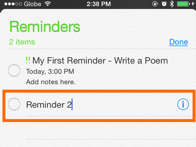 iPhone - Reminders - Add Reminder