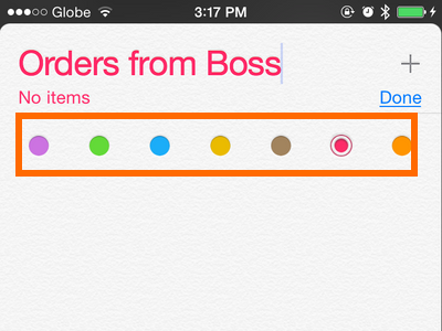 iPhone - Reminders - Chose color theme for list