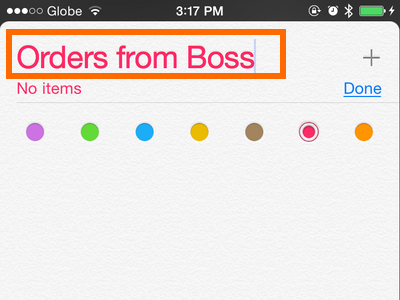 iPhone - Reminders - Chose name for list