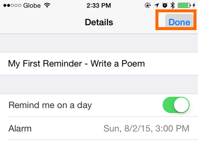 iPhone - Reminders - Done button