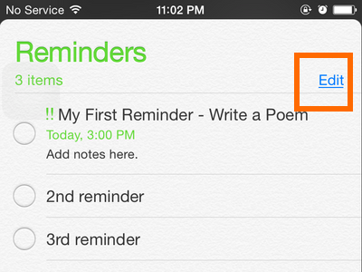 iPhone - Reminders - Edit button