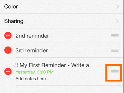 iPhone - Reminders - Handle icon - Drag